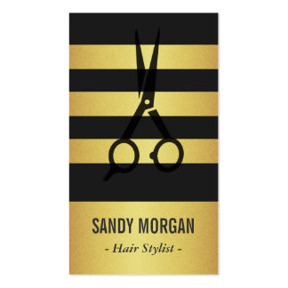 Trendy Gold Glitter Stripes Design - Hair Stylist Double-Sided Standard Business Cards (Pack Of 100)
