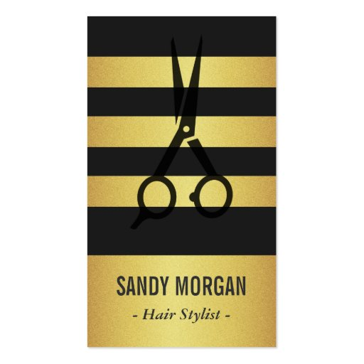 Trendy Gold Glitter Stripes Design - Hair Stylist Business Card