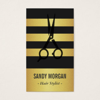 Trendy Gold Glitter Stripes Design - Hair Stylist Business Card