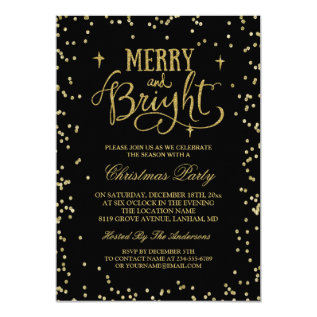 Trendy Gold Glitter Twinkle Dots Christmas Party Card at Zazzle