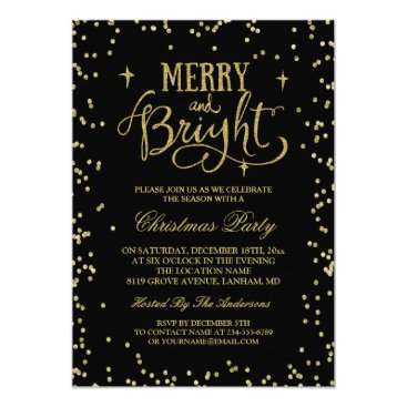 Christmas Themed Trendy Gold Glitter Twinkle Dots Christmas Party Card