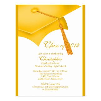 Trendy Gold Grad Cap Graduation Party Invitation Postcard