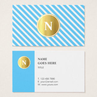 Trendy Gold Monogram Pattern Business Card