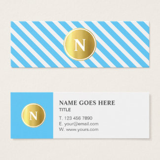 Trendy Gold Monogram Pattern Mini Business Card