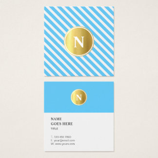 Trendy Gold Monogram Pattern Square Business Card