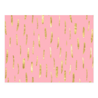 Trendy Gold Paint Strokes Pink Postcard