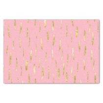 Trendy Gold Paint Strokes Pink Tissue Paper