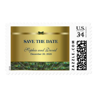Trendy Gold Peacock Wedding Monogram SAVE THE DATE Stamp