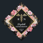 "Trendy Gold Pink Floral Medical Nursing Graduation Cap Topper<br><div class=""desc"">Nursing graduation cap topper featuring a trendy black background,  cute pink watercolor flowers,  the medical symbol caduceus,  the students name,  and class year.</div>"