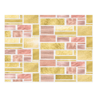 Trendy Gold Pink Mauve Foil Blocks Postcard