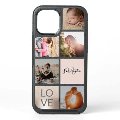 Trendy gold pink monogram love photo collage grid OtterBox symmetry iPhone 12 case