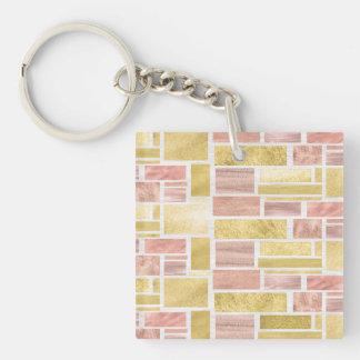 Trendy Gold Rose Gold Foil Blocks Keychain