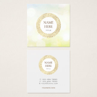 Trendy Gold Sequin Abstract Square Business Card