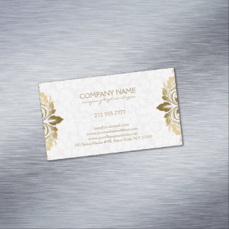 Trendy Gold Swirly Lace On Plush White Damasks Magnetic Business Card