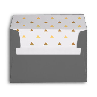 Trendy Gold Triangles & Gray Envelope