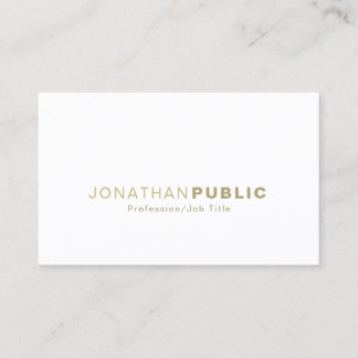 Trendy Gold White Smooth Modern Stylish Plain Business Card