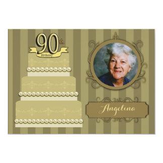 Trendy Golden Damask 90th Birthday Photo Invite