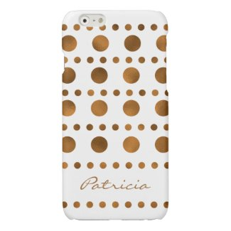 Trendy Golden Dots Custom Name Glossy iPhone 6 Case