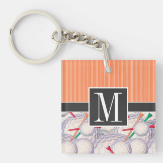 Trendy Golf Balls & Tees Pattern Double-Sided Square Acrylic Keychain