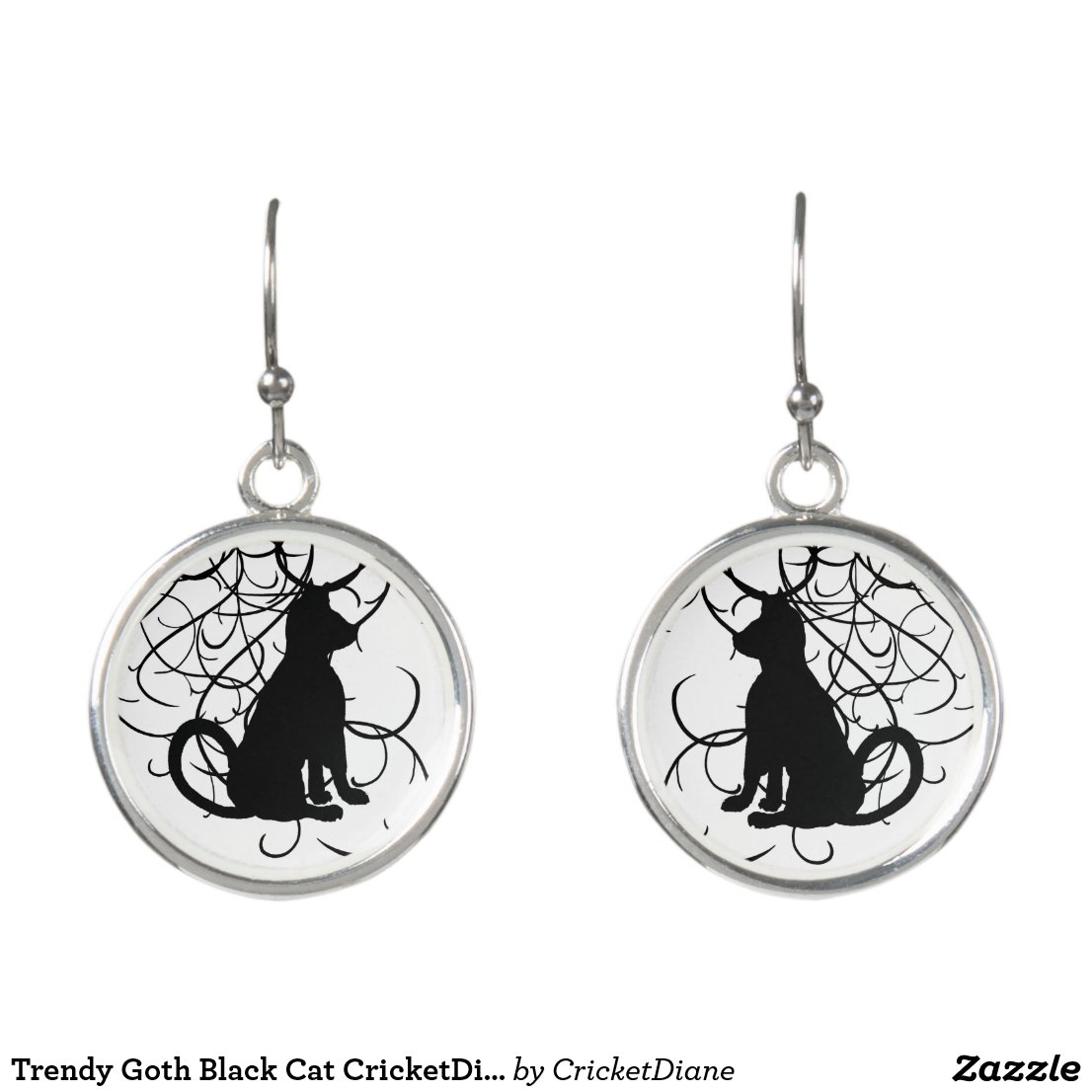 Trendy Goth Black Cat CricketDiane Earrings