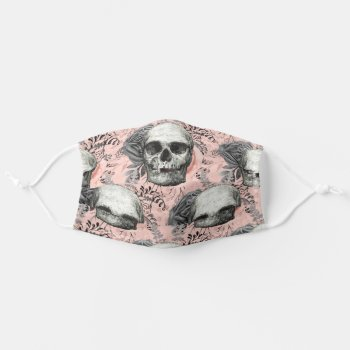 Trendy Goth Skull Roses Coral Gray Street Fashion Adult Cloth Face Mask