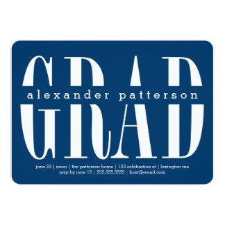 "Trendy Grad Custom Color Graduation Invitation 5"" X 7"" Invitation Card"