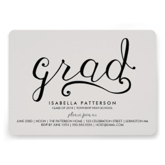 Trendy Grad Gray Graduation Invitation
