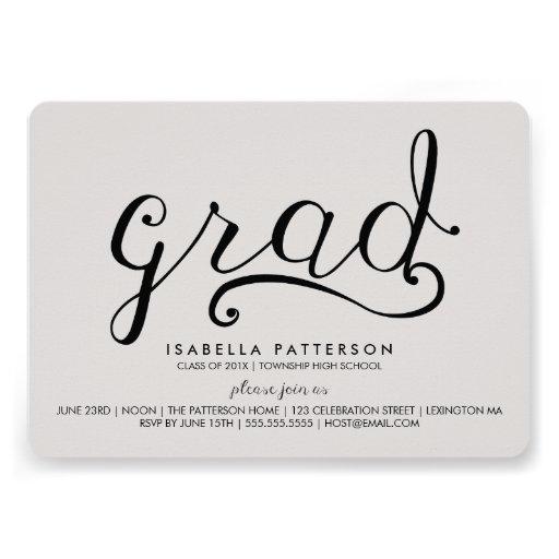 Trendy Grad Gray Graduation Invitation