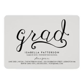 "Trendy Grad Gray Graduation Invitation 5"" X 7"" Invitation Card"