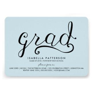 Trendy Grad Pastel Blue Graduation Invitation