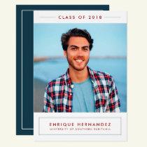 Trendy Grad Photo Graduation Party Announcement