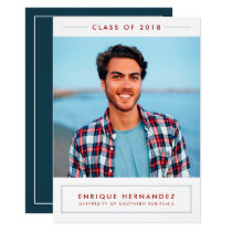 Trendy Grad Photo Graduation Party Announcement