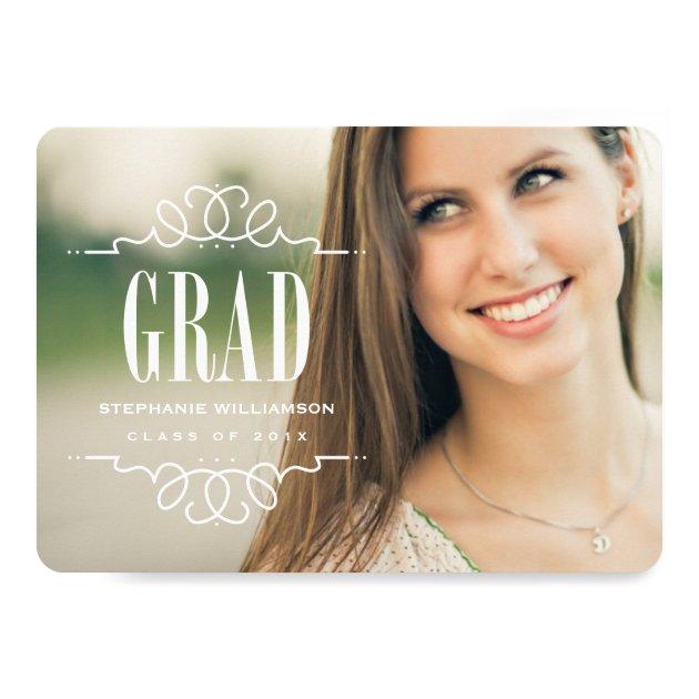 Trendy Grad Photo Graduation Party Invitation