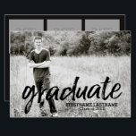 """Trendy Graduation Announcement with 4 Photos<br><div class=""""desc"""">Add 2019,  2018 or any year to personalize this elegant and trendy design. This can be used for any graduate - high school,  college,  grad school,  med school or even trade school.</div>"""