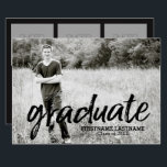 "Trendy Graduation Announcement with 4 Photos<br><div class=""desc"">Add 2019,  2018 or any year to personalize this elegant and trendy design. This can be used for any graduate - high school,  college,  grad school,  med school or even trade school.</div>"