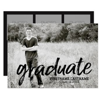 Trendy Graduation Announcement With 4 Photos by MarshEnterprises at Zazzle