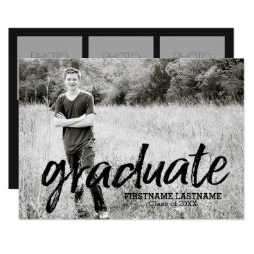 graduation Trendy Graduation Announcement with 4 Photos