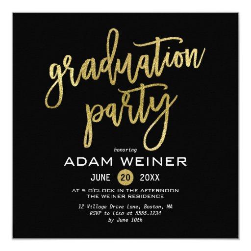 Trendy Graduation Party Invitation Faux Gold
