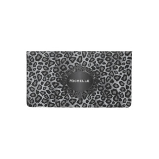 Trendy Gray and Black Jaguar Animal Print Checkbook Cover