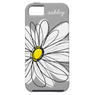 Trendy Gray and Yellow Daisy Drawing iPhone 5 Covers