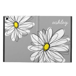 Trendy Gray and Yellow Daisy Drawing Cover For iPad Air
