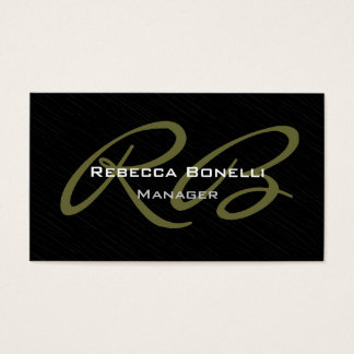 Trendy Gray Black Pattern Monogram Business Card