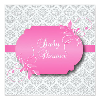 Trendy Gray Damask and Pink for a Baby Shower Card