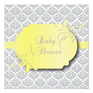 Trendy Gray Damask and Yellow for a Baby Shower Card