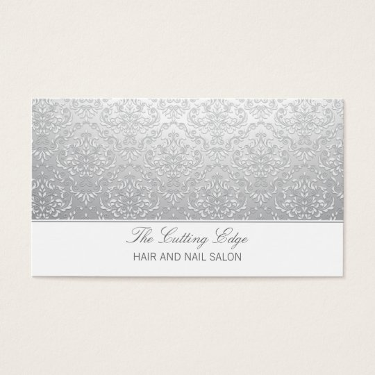 Trendy gray faded damask salon spa business card