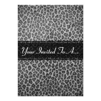 Trendy Gray Leopard Print Bachelorette Party Invitation