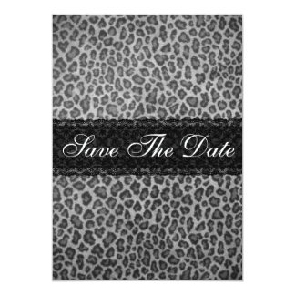 Trendy Gray Leopard Print Save The Date Notice Card