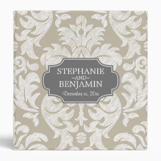Trendy Gray & Linen Beige Damask Pattern Wedding Binder