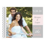 Trendy Gray + Pink Chevron Photo Save the Date Postcard
