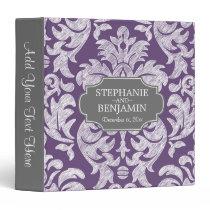 Trendy Gray & Purple Damask Pattern Wedding Date Binder